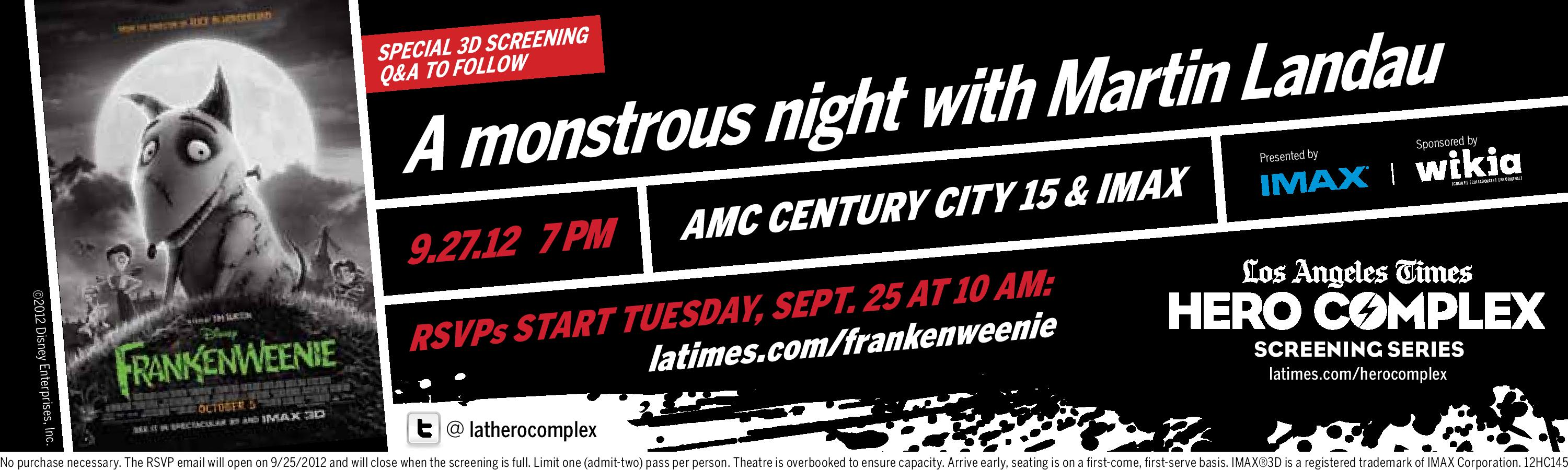 Los Angeles Times Hero Complex Screening Series of Frankenweenie in IMAX 3D
