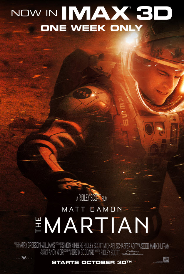 THE MARTIAN will play for one week only in IMAX 3D